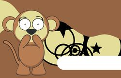 Sweet monkey expression cartoon sticker Stock Image