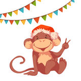 Sweet monkey with flags and hat for 2016 New Year Royalty Free Stock Photo