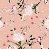 Sweet mood of oriental garden flower with blooming botanical and cherry bloosom florals seamless pattern vector design for fashion royalty free illustration