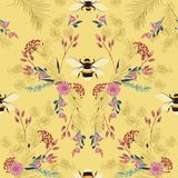 Sweet mood in pastel Vintage botanical blooming garden flowers unfinished line drawing with bees seamless pattern vector design. For fashion,fabric,wallpaper vector illustration