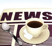 Sweet morning coffee reading news. Royalty Free Stock Photo