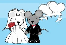 Sweet mouse married cartoon background Royalty Free Stock Images