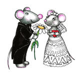 Sweet mouses bride and groom Stock Photo