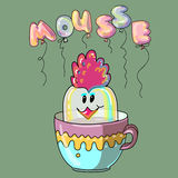 Sweet mousse dessert. Funny illustration. Mousse in the form of birds. Sweet dessert in a cup. Text in form balloons. All elements on separate layers, it is Royalty Free Stock Images