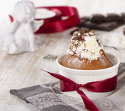 Sweet muffin with  chocolate and decorations Royalty Free Stock Image