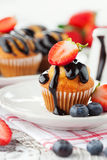 Sweet muffins with berries Royalty Free Stock Photos