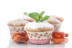 Sweet muffins with dried apricots Royalty Free Stock Photos