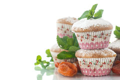 Sweet muffins with dried apricots Stock Image