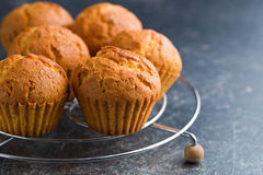 Sweet muffins on kitchen table Royalty Free Stock Image