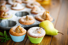 Sweet muffins with pears Stock Photo