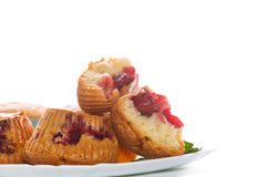 Sweet muffins stuffed with cherries Stock Image