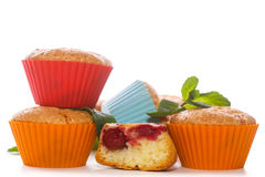 Sweet muffins stuffed with cherries royalty free stock images