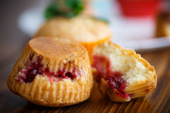 Sweet muffins stuffed with cherries Stock Photo