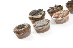 Sweet muffins on white background Royalty Free Stock Photos