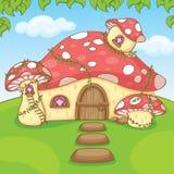 Sweet mushroom home cartoon vector. Mushroom home valley cartoon character vector Royalty Free Stock Photography