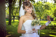 Sweet naughty bride. Closeup of young naughty bride, coquetting Stock Photos