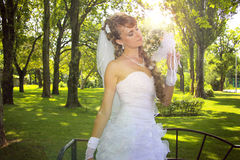 Sweet naughty bride. Closeup of young naughty bride.Sunset time Stock Photography