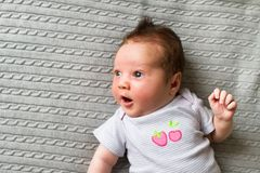 Sweet new born baby in shirt with strawberry picture Stock Image