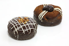 Sweet : new year brown chocolate and cream donut Stock Photo