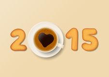 Sweet New Year 2015. Cookies in form of numbers and coffee cup with foam heart-shaped form together the number 2015 Royalty Free Illustration