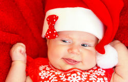 Sweet newborn baby on Christmastime Royalty Free Stock Photos