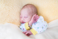 Sweet newborn baby sleeping on warm sheepskin Royalty Free Stock Images