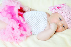 Sweet newborn girl Stock Photos
