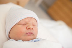 Sweet Newborn Infant Sleeping Stock Image