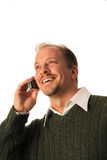 Sweet News!. Young Professional Male Using Cell Phone Royalty Free Stock Photo