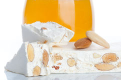 Sweet nougat with almonds Stock Image
