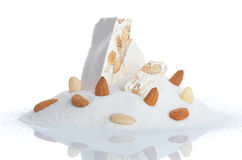 Sweet nougat with almonds Royalty Free Stock Image