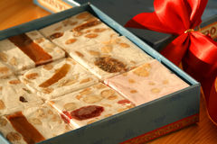 Sweet nougat bars in box Royalty Free Stock Photography