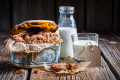 Sweet nut cookies and milk Stock Photo
