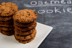 Sweet oatmeal cookies  in plate Stock Photos