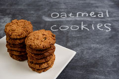 Sweet oatmeal cookies  in plate Stock Image