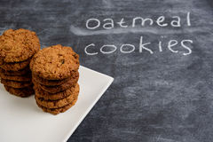 Sweet oatmeal cookies  in plate Royalty Free Stock Photography