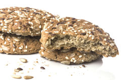 Sweet oatmeal cookies sprinkled with sunflower seeds close Stock Photos