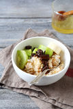 Sweet oatmeal with fruit and chocolate Royalty Free Stock Photos