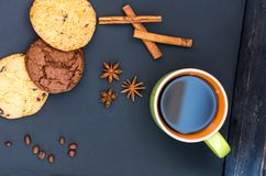 Sweet oats gingerbread with spices. A mug of coffee and gingerbread. Flat lie stock photos