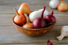 Sweet onions and dried husk in a bowl on wooden boards Stock Images