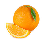 Sweet orange with a bright green leaf Stock Photo