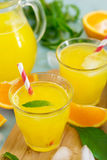 Sweet orange drink with ice and mint leaves stock photo