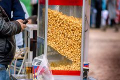 Sweet popcorn shop close up view stock photos