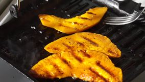 Sweet orange pumpkin slices, grilled stock footage