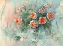 Sweet orange roses colorful background watercolor Stock Photography