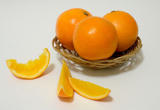 Sweet Oranges. Oranges in a basket Stock Photos