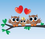 Newborn baby announcement cute owl family stock illustration