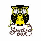 A sweet owl sitting on a tree branch. royalty free illustration