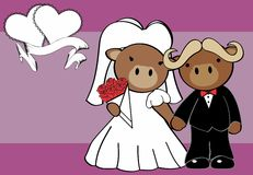 Sweet oxen married cartoon background Stock Photo