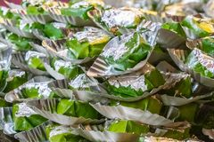 Sweet paan stack close up view lying in shop stock image